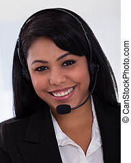 Happy Female Customer Representative - Close-up Of Happy...