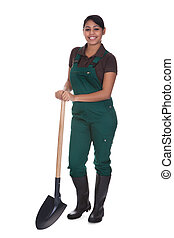 Young Female Gardner With Shovel Isolated Over White...