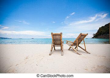 dois, praia, cadeiras, perfeitos, tropicais, branca, Areia,...