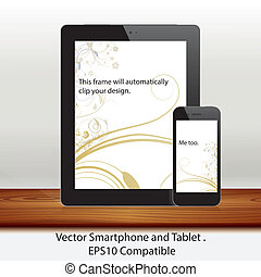 Vector tablet computer and mobile phone in white