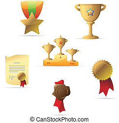 Icons for awards. Vector illustration.
