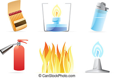 Icons for fire. Vector illustration.