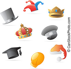 Icons for hats - Icons for various hats. Vector...