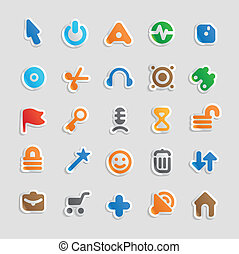 Sticker icons for interface - Sticker button set. Icons for...