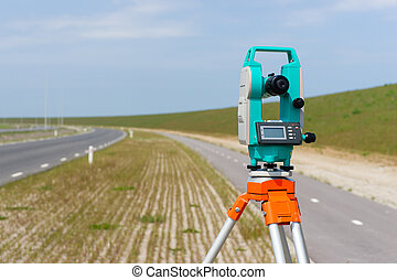 Total station or theodolite - A moderne theodolite or total...