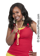 Woman Thumbs Up - Beautiful woman gesturing with a thumbs up