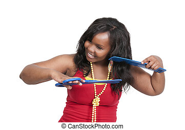Hairstylist - Black woman hairstylist working on doing a...