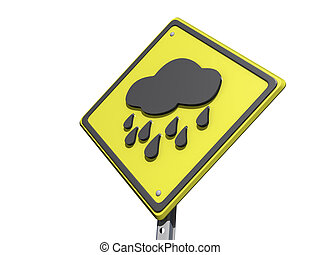 Rainy Day Ahead Yield Sign - A yield road sign with a rainy...