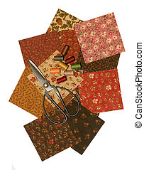 QUILT SQUARES,THREAD,SCISSOR - quilt squares with thread and...