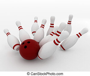 bowling ball crashing into the pin - 3d render of bowling...