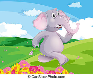 An elephant running at the hill with flowers - Illustration...