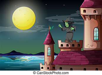 A witch above the castle near the sea