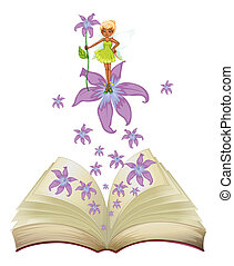 A book with an image of a fairy and flowers