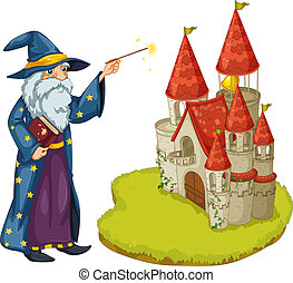A wizard holding a book and a magic wand in front of the...