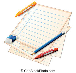 An empty paper with crayons, a pencil and an eraser -...