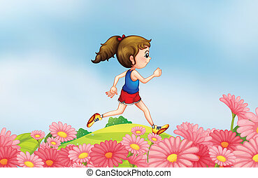 A girl running along the hill with a garden