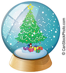 A crystal ball with a Christmas tree