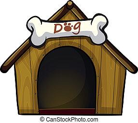 Um, cão, casa, osso