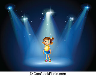 A girl smiling in the middle of the stage under the spotlights