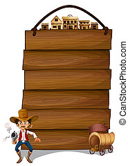 An empty signboard with a cowboy and a wagon - Illustration...