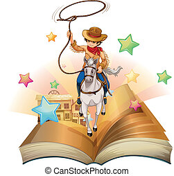 A book with a cowboy holding a rope - Illustration of a book...