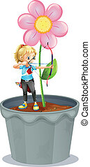 A pot with a flower and a girl at the top