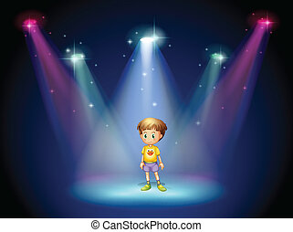 A little man in the middle of the stage with spotlights