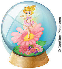 A fairy above the flower inside the dome