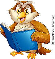 An owl reading - Illustration of an owl reading on a white...
