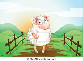 A sheep holding an empty signage inside the wooden fence