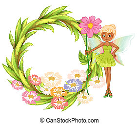 A round border with a fairy holding a flower - Illustration...