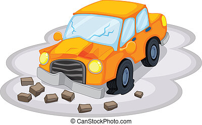 A car accident - Illustration of a car accident on a white...