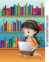 A girl with a laptop in front of the wooden shelves -...
