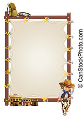 An empty frame banner with a cowboy and saloon bars -...