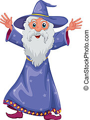 An old wizard - Illustration of an old wizard on a white...