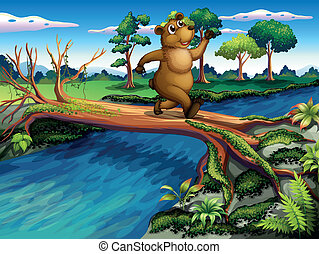 A bear running while crossing the river - Illustration of a...