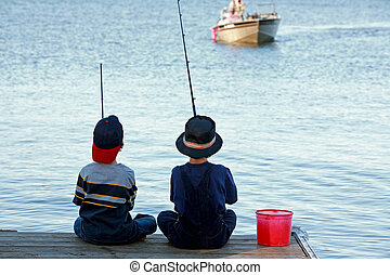 Boys Fishing - Two Boys Fishing Off the Pier