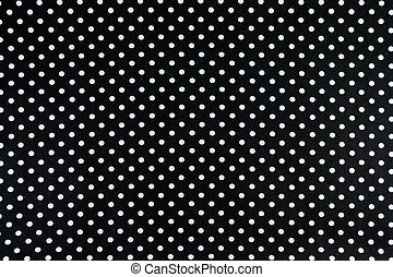 White dots on black Background - Black Fabric and White Tiny...