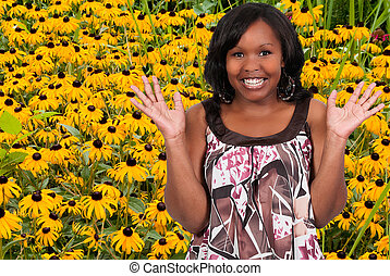 Blackeyed Susans - Black woman with the common wild flower...