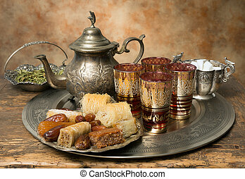 Moroccan hospitality - Oriental tea tray and cookies...