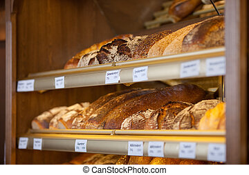 Breads Displayed In Display Cabinet - Variety of breads...