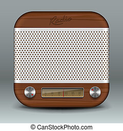 Retro radio app icon, vector Eps10 image