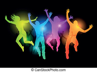 446 - Jumping Young Adults - Vector illustration, grouped...