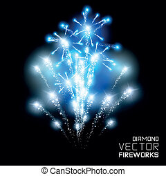 460 - Beautiful Diamond firework display, vector.