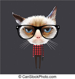 Funny cartoon cat, vector Eps10 illustration