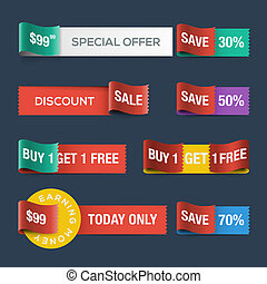 Collection of sale discount website ribbons, vector Eps10...