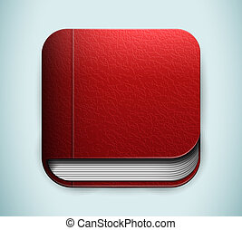 Red book icon. Vector illustration.