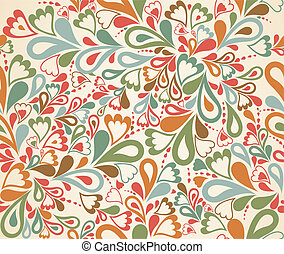 Floral seamless pattern in retro style. Vector