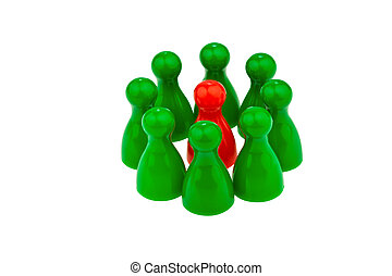 individuality in a team be different - red and green pawns...