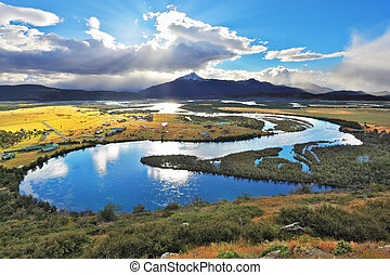 National Park Chile - Torres del Paine. River Valley...